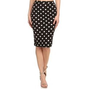 { bobeau } polka dot pencil skirt